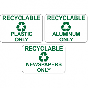 Plastic / Aluminum / Newspaper Only Aluminum Sign Pack