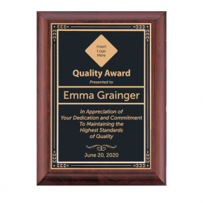 Quality Control Award Plaque Cherry with Brass Plate