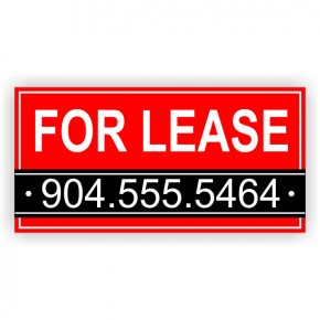 Red Custom Phone Number For Lease Banner - 3' x 6'