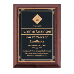 Retirement Milestone Cherry Award Plaque w/ Black Brass Plate