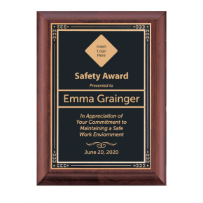 Safety Goal Award Cherry Plaque w/ Black Brass Plate