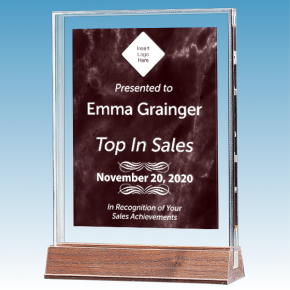 Sales Goal Marble Ruby Polished Acrylic Award on Walnut Base