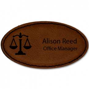 Scales of Justice Leatherette Oval Lawyer Name Tag