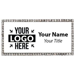 Silver and White Rhinestone Name Tag
