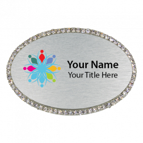 Rhinestone Full Color Magnetic Oval Name Badges