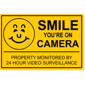 "Smile You're On Camera Video Surveillance Yard Sign | 12"" x 18"""