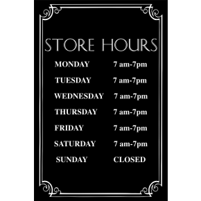 "Store Hours with Fancy Border - 12"" x 8"" Engraved Sign"