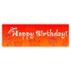Sunset Sombrero Birthday Banner - 2' x 6'