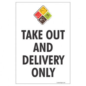 "Take Out and Delivery Sign with Logo | 9"" x 6"""