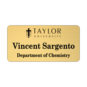 Taylor University Gold Name Tag 2 Line