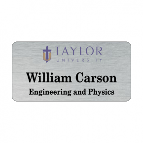 Taylor University Silver Name Tag 2 Line