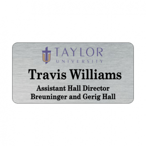 Taylor University Silver Name Tag 3 Line