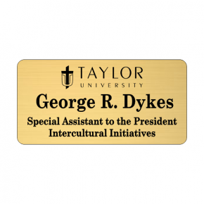Taylor University Gold Name Tag 3 Line