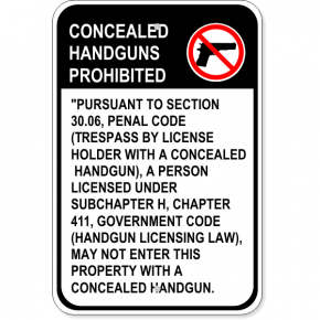 "Texas Concealed Weapons Sign 30.06 English | 18"" x 12"""