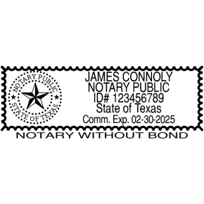Texas State Notary Bureau without bond stamp