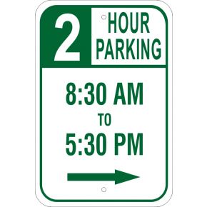 "Timed Parking Sign with Right Arrow | 18"" x 12"""