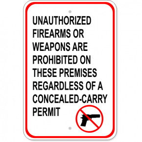 "Unauthorized Firearms Carry Permit Aluminum Sign | 18"" x 12"""