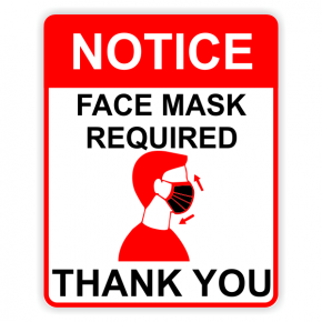 Face Mask Required - Red Notice Sign