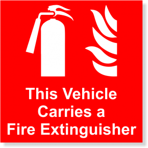 "Vehicle Carries a Fire Extinguisher Full Color Decal | 4"" x 4"""