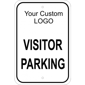 "Visitor Parking Custom Logo Aluminum Sign - 18"" x 12"""