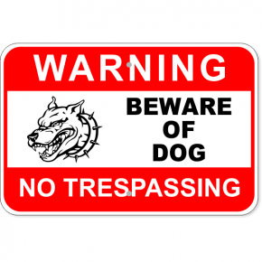 "Warning No Trespassing Beware Dog Aluminum Sign | 12"" x 18"""