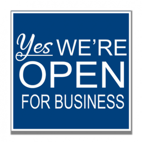 Yes We Are Open For Business Engraved Sign