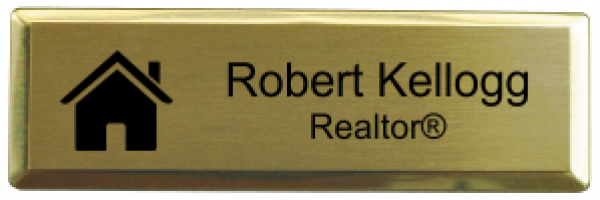 """Real Estate Small Rectangular Name Tag with Executive Holder (3"""" x 1"""")"""