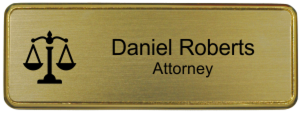 "Law Office Small Name Tag with Premier Holder (3"" x 1"")"
