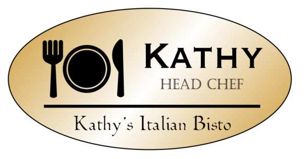 Fork, Plate, and Knife Oval Restaurant Name Tag