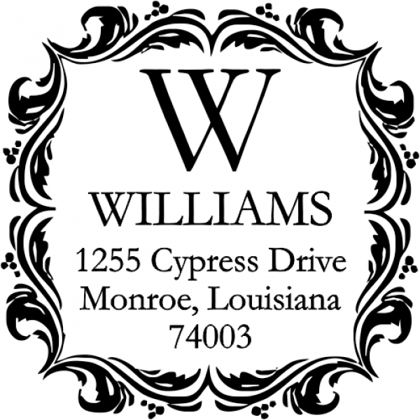 Ornament Border Return Address Stamp