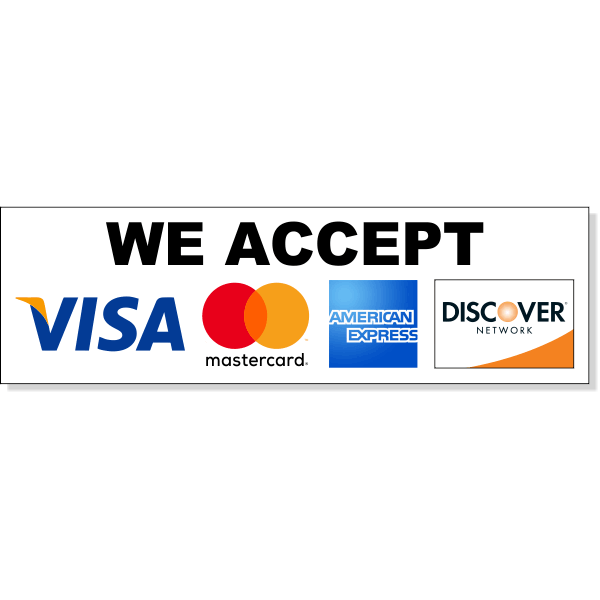"Horizontal Credit Card Accepted Decal  13"" x 13"""