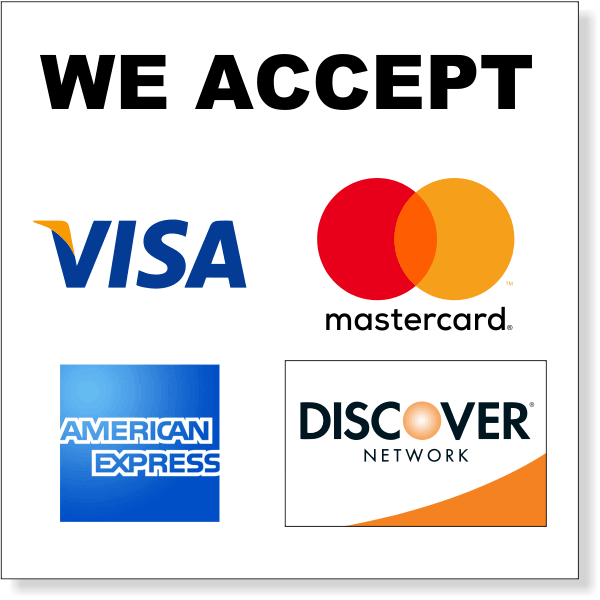 "Square Credit Card Accepted Decal  13"" x 13"""