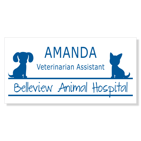 Veterinary Rectangle 3 Line Name Tag C