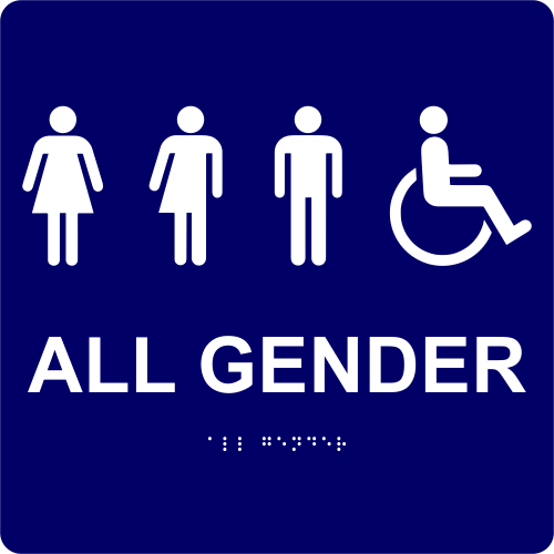 "All Gender Handicapped Sign - ADA Compliant 10"" x 10"""