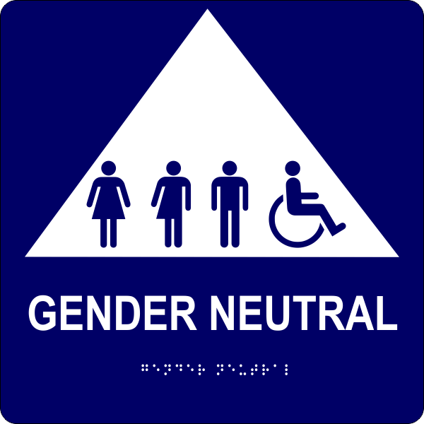 """All Gender Triangle Handicapped Sign 10"""" x 10"""""""