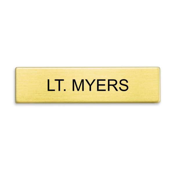 Gold Military Style Name Tag - One Line