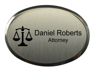 """Law Office Oval Name Tag with Premier Holder (2.5"""" x 1.75"""")"""