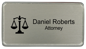 Law Office Rectangular Name Tag - Premier Holder (3