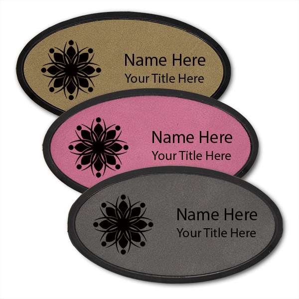 Leatherette Name Tag with Frame - Oval