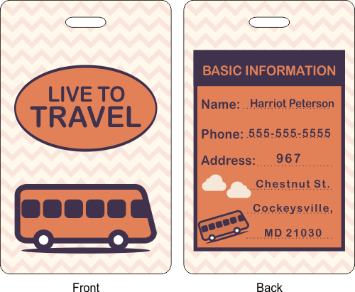 Live to Travel Luggage Tag