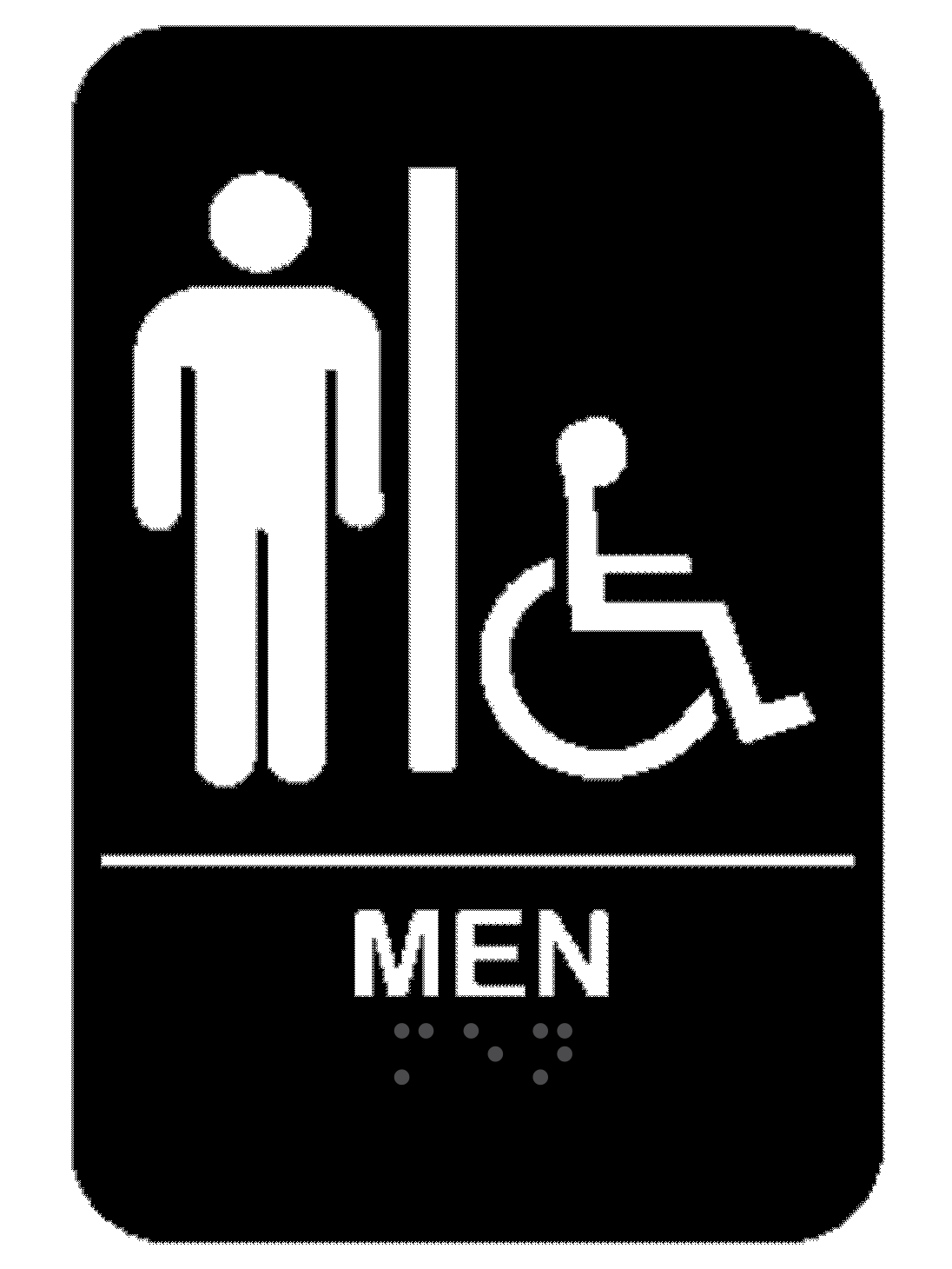 Black Men's Handicap ADA Braille Restroom Sign
