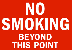 Plastic No Smoking Beyond This Point Sign