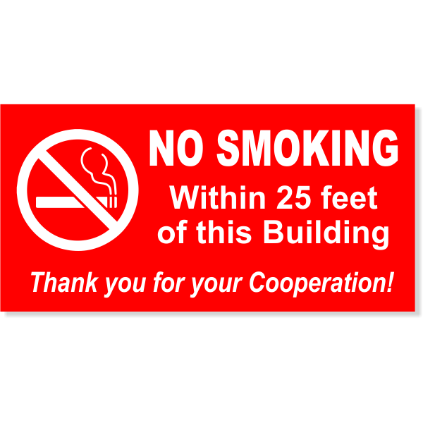 NO SMOKING Within custom Feet 6 x 12 Sign
