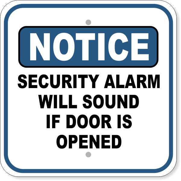 "Notice Security Alarm Aluminum Sign | 12"" x 12"""