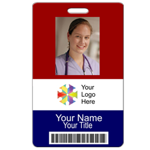 Vertical ID Badge with Logo & Bar Code