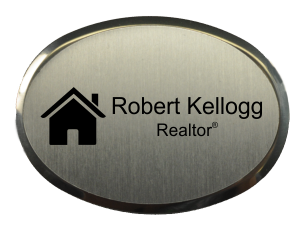 Real Estate Oval Name Tag with Executive Holder (2.5