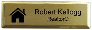 Real Estate Small Rectangular Name Tag with Executive Holder (3