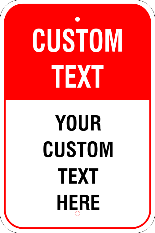 6 Line Custom Text Red Background Aluminum Sign - 18