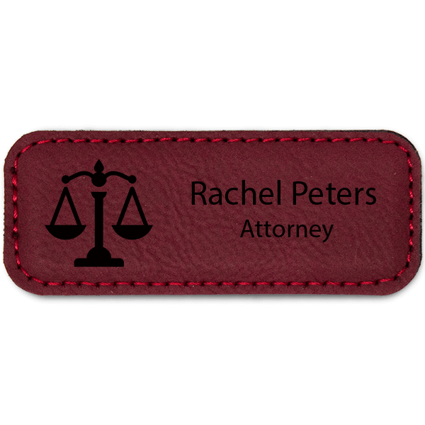 Scales of Justice Leatherette Law Office Name Tag