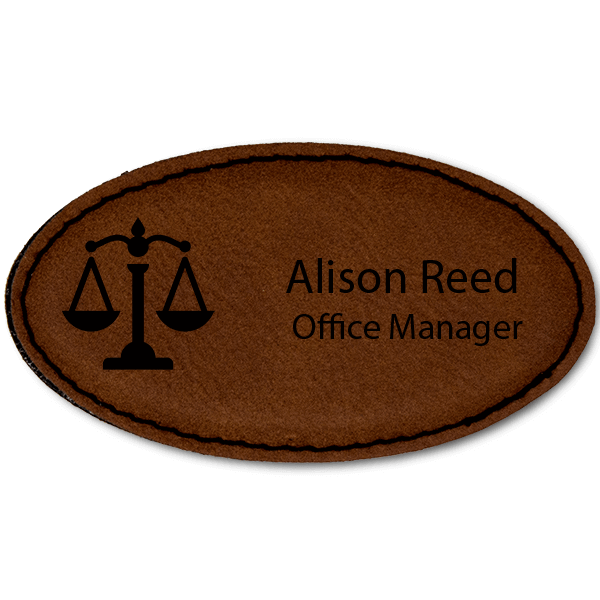 Scales of Justice Leatherette Oval Law Office Name Tag